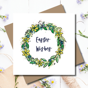 Easter Floral Wreath Rose Gold Wreath Greeting Card