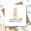 Happy Easter Flora Bunny Greeting Card