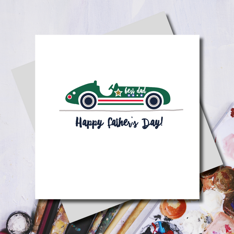 Racing Green Dad Car Father's Day Greeting Card