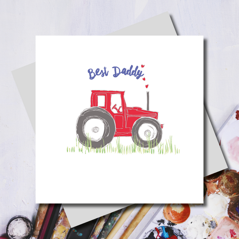 Pops Red Tractor Best Daddy Greeting Card
