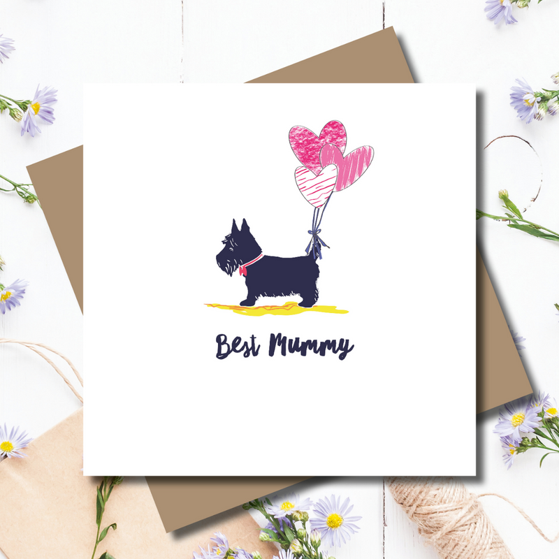 Dotty Scottie Heart Balloon Mother's Day Greeting Card