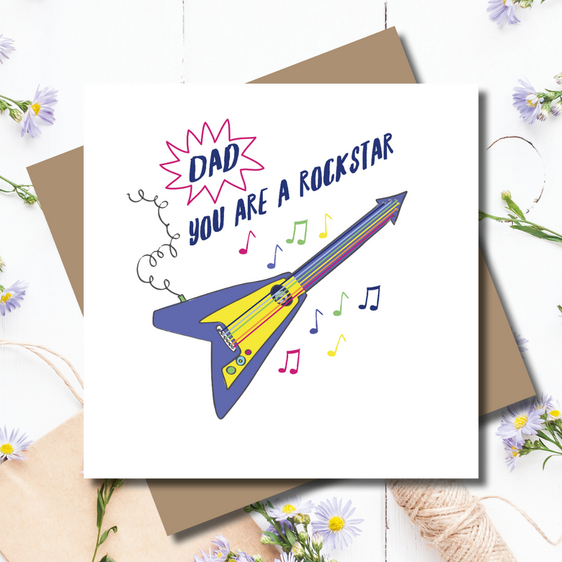 Rockstar Music Guitar Dad Father's Day Greeting Card