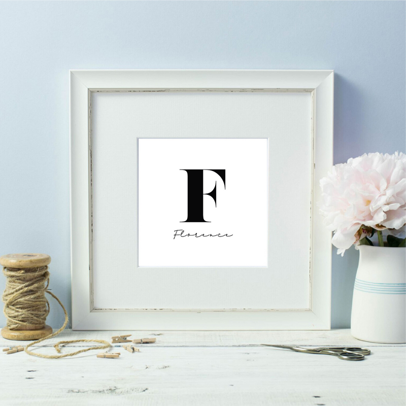 Black and White Personalised Initial Named Framed Print