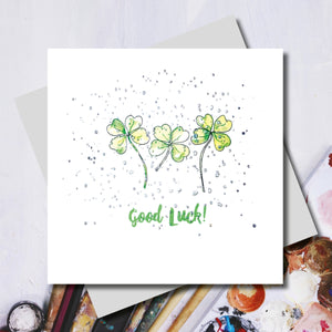 Lucy Good Luck Clover Foiled Greeting Card