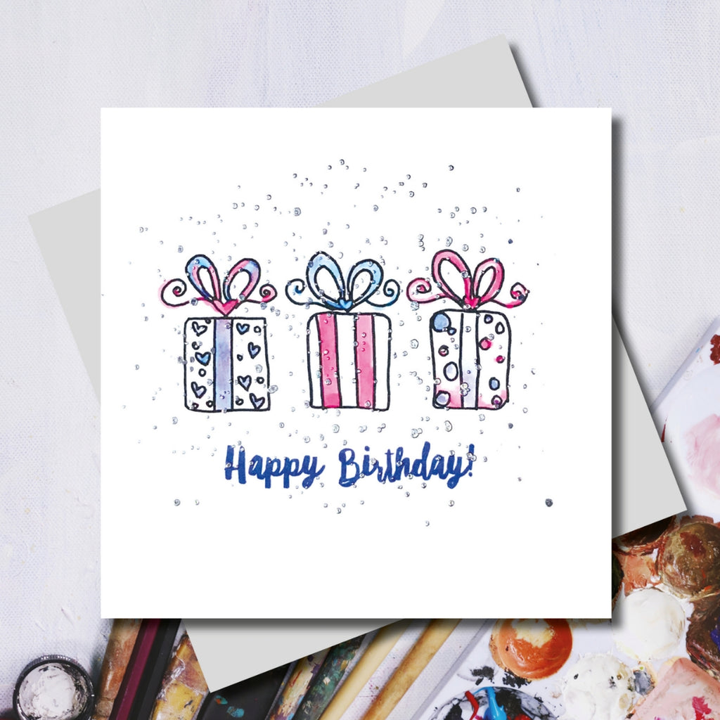 Happy Birthday Presents Foiled Greeting Card