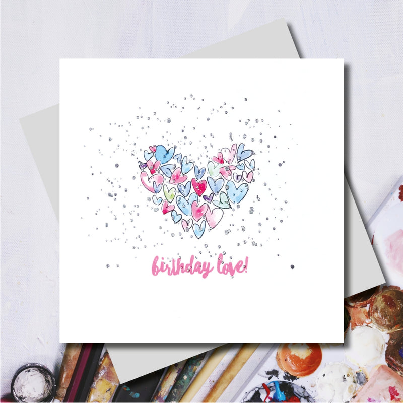 Birthday Love Hearts Foiled Greeting Card
