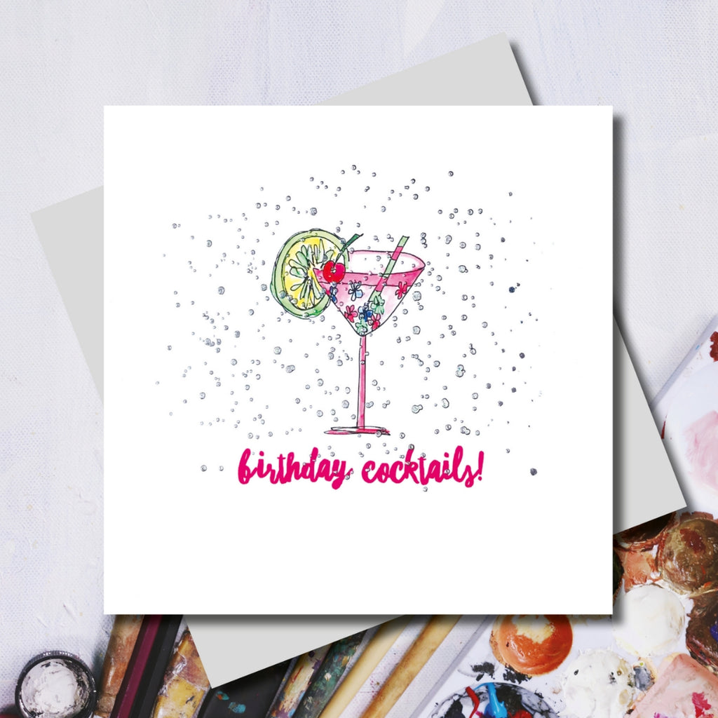 Pink Birthday Cocktails Greeting Card