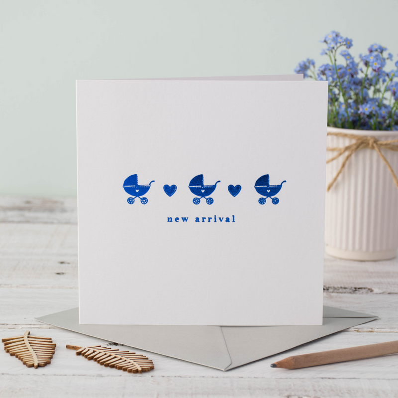Baby Blue Pram Greeting Card