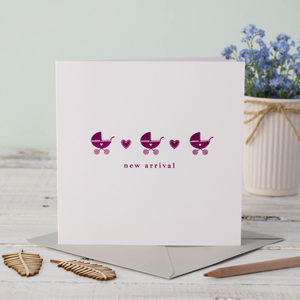 Baby Pink Pram Greeting Card