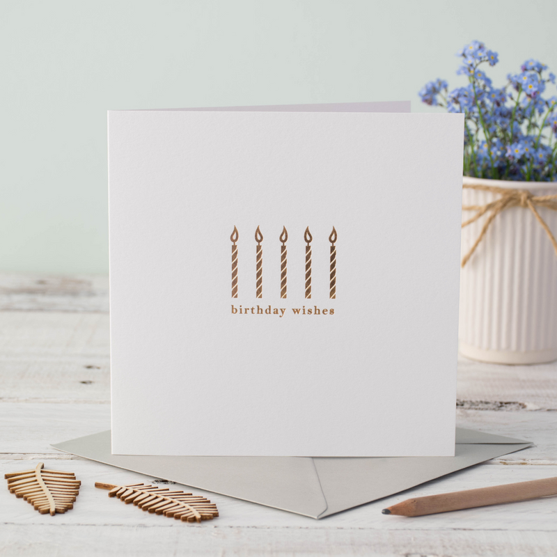 Birthday Candles Gold Foil Greeting Card