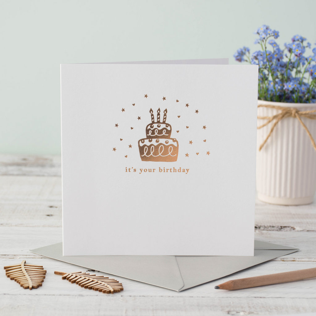 Cake Shimmer Birthday Rose Gold Foil Greeting Card