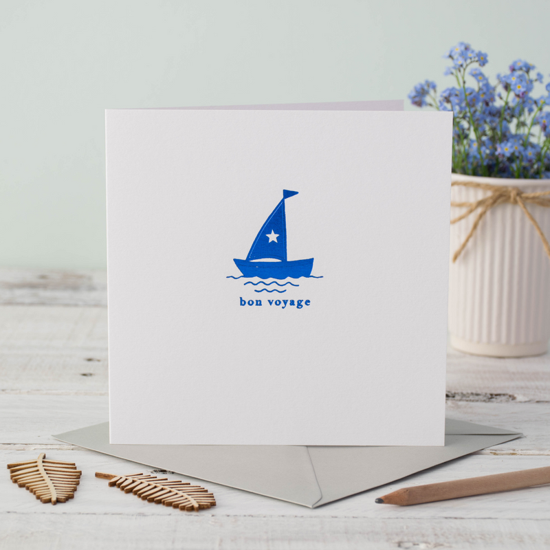Bon Voyage Boat Blue Foil Greeting Card