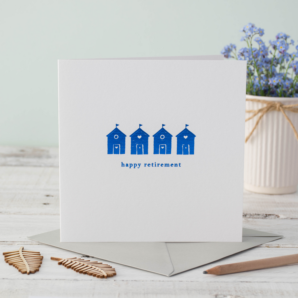 Retirement Beach Huts Greeting Card