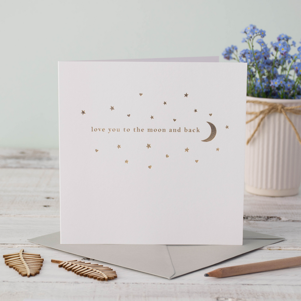 Love You To The Moon And Back Rose Gold Foil Greeting Card