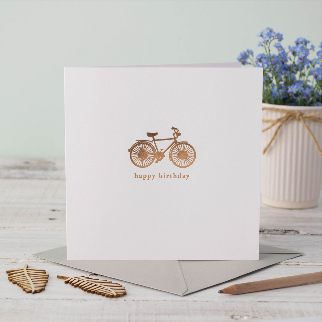 Blue Foil Birthday Bike Greeting Card