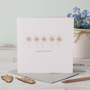 Magical Wishes Flowers Rose Gold Greeting Card