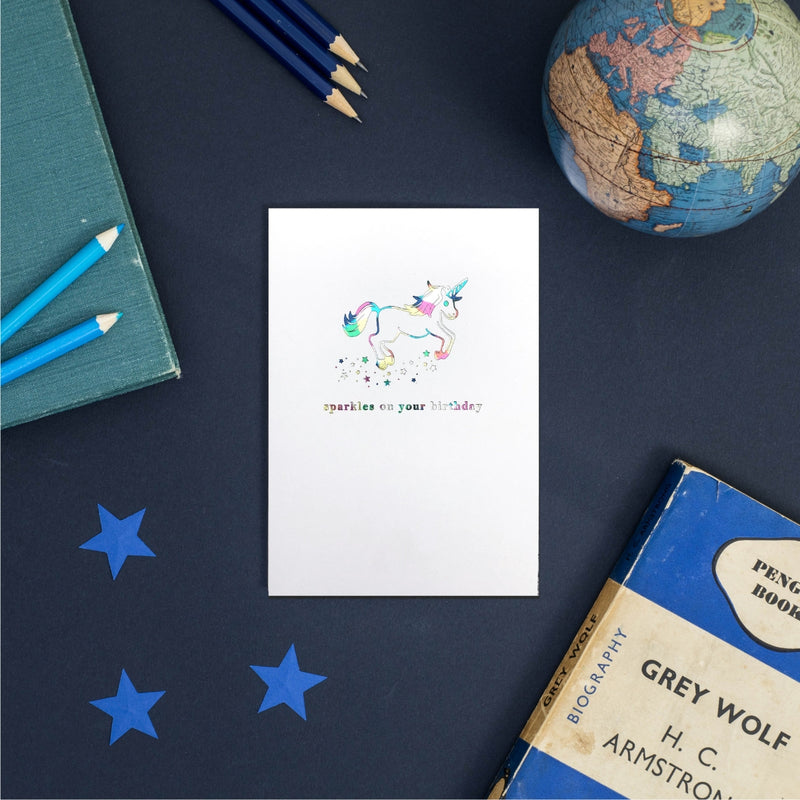 Rainbow Sparkles On your Birthday Unicorn Greeting Card