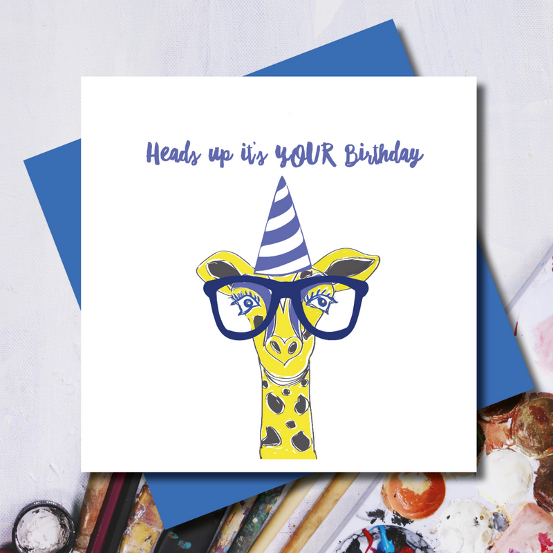 Heads Up Giraffe Birthday Greeting Card