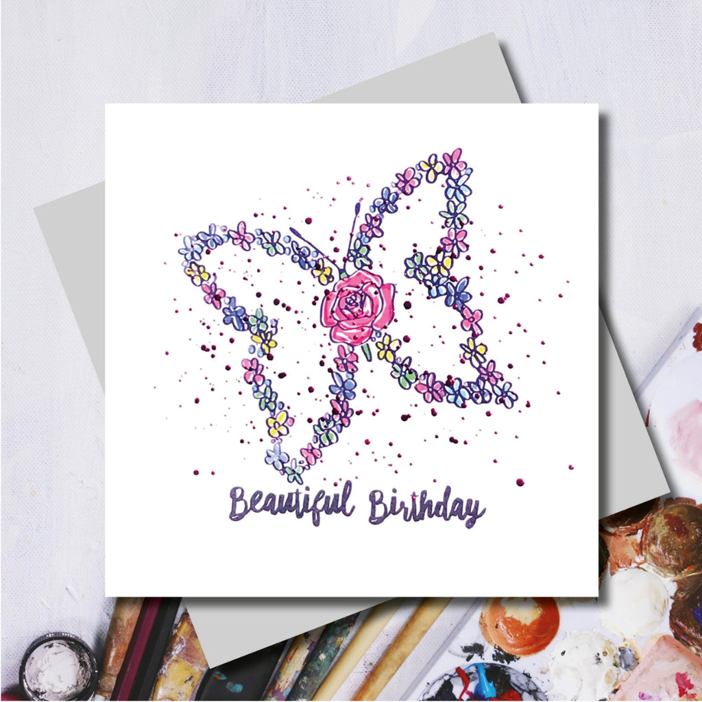 Lucy Beautiful Butterfly Pink Foiled Greeting Card