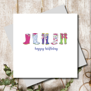 Ditsy Wellies Happy Birthday Greeting Card