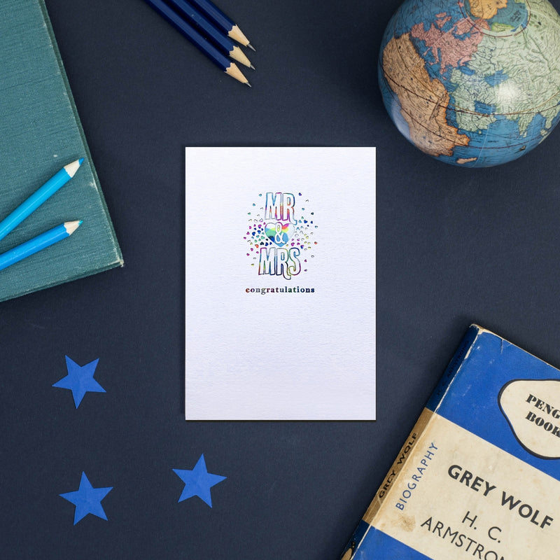 Rainbow Mr and Mrs Wedding Greeting Card