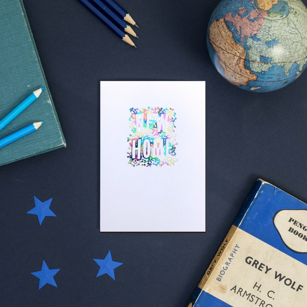 Rainbow Foil New Home Greeting Card