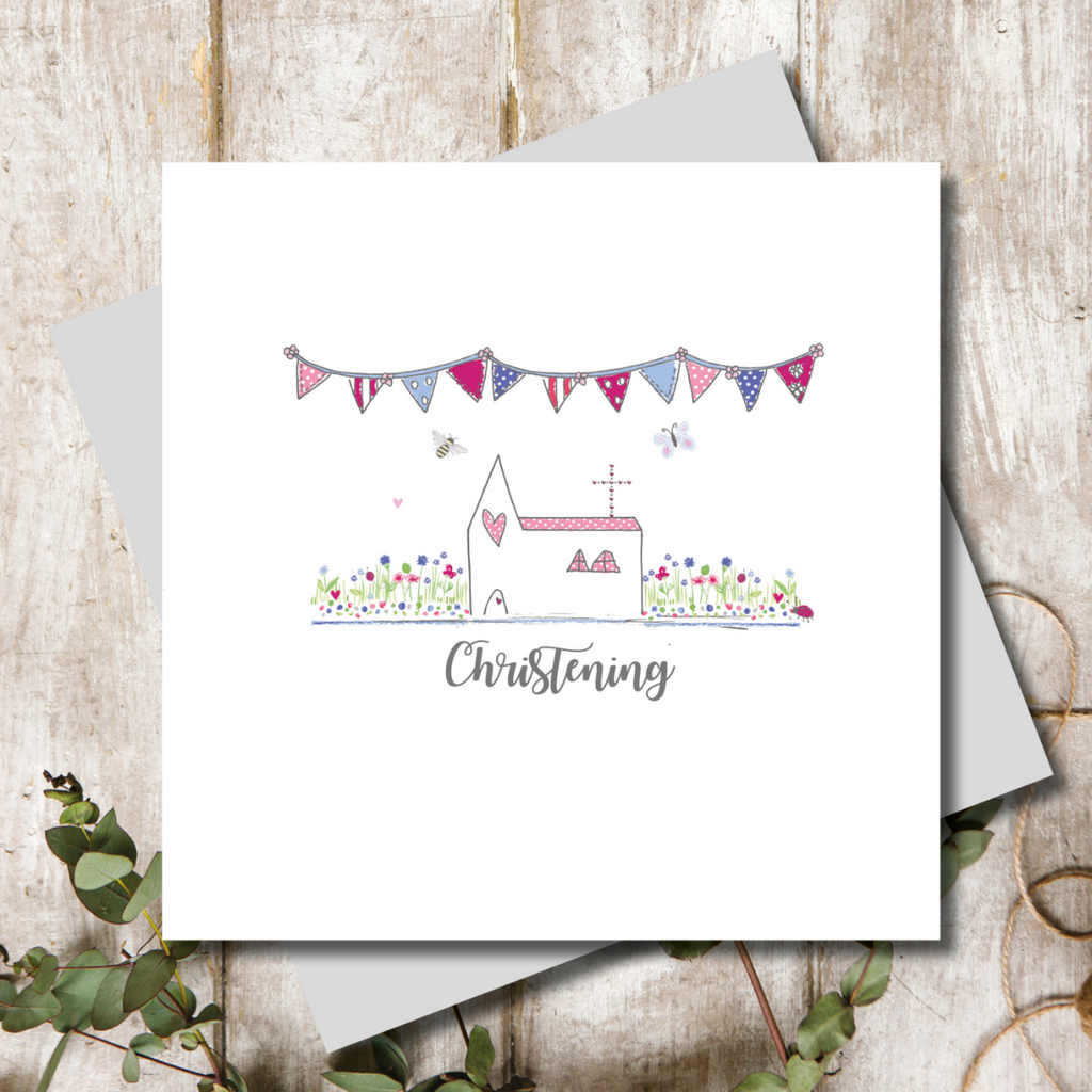 Girl Christening Church Greeting Card