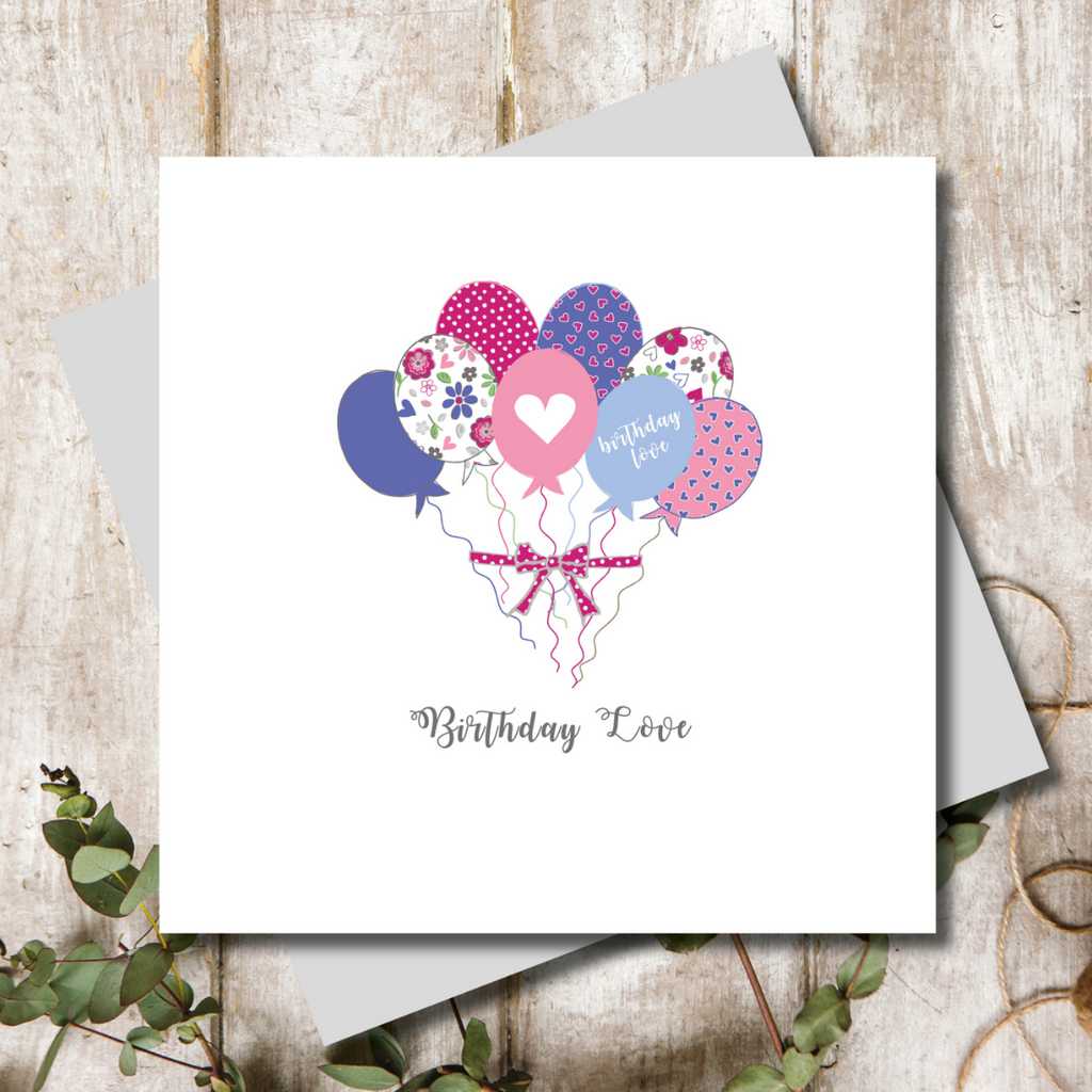 Birthday Love Balloons Greeting Card