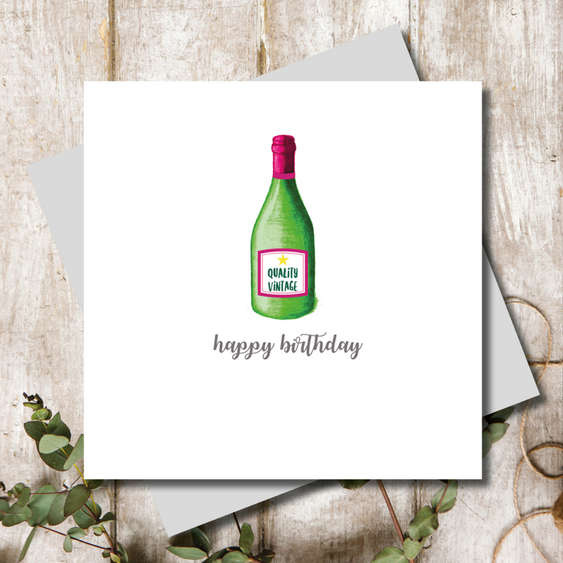 Vino Wine Birthday Bottle Greeting Card