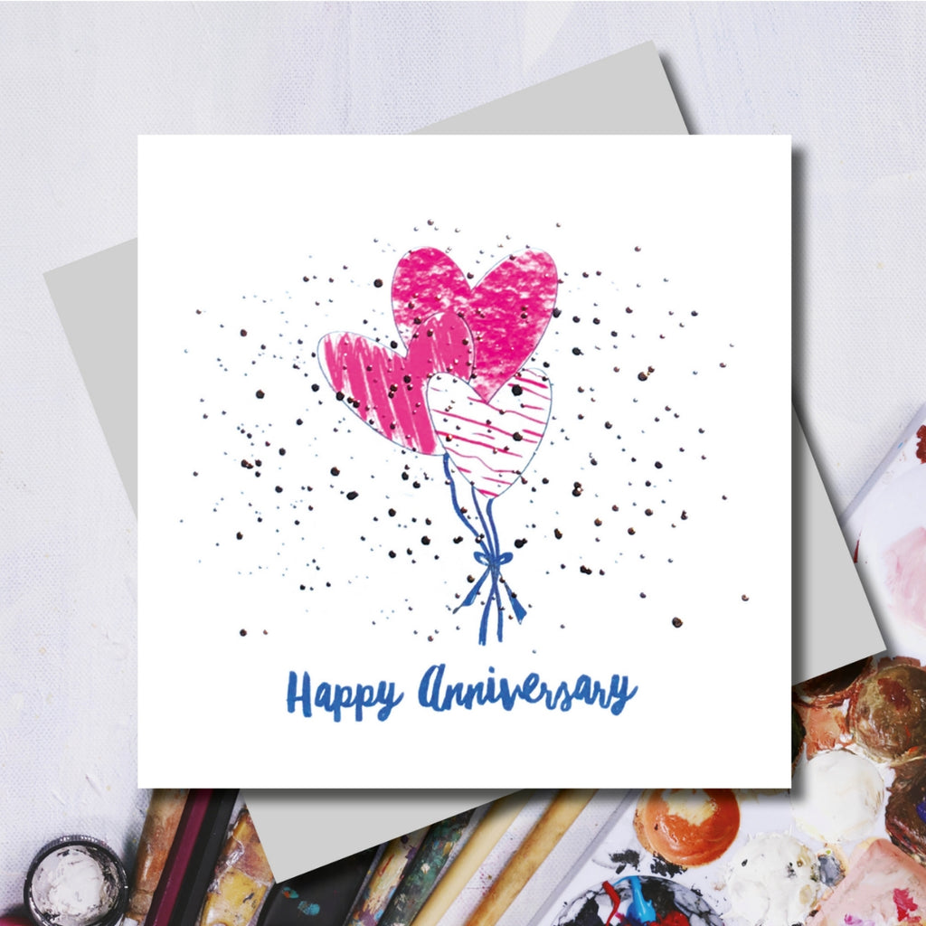 Lucy Love Heart Anniversary Balloons Greeting Card