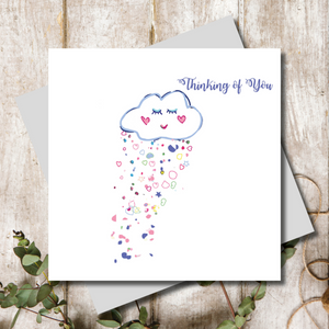 Thinking of you cloud with hearts greeting card