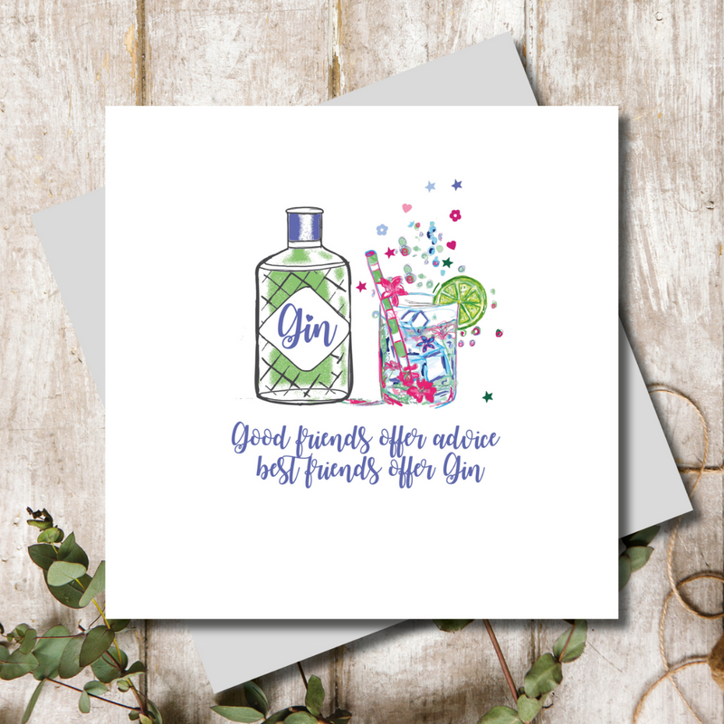 Best Friends Offer Gin Greeting Card
