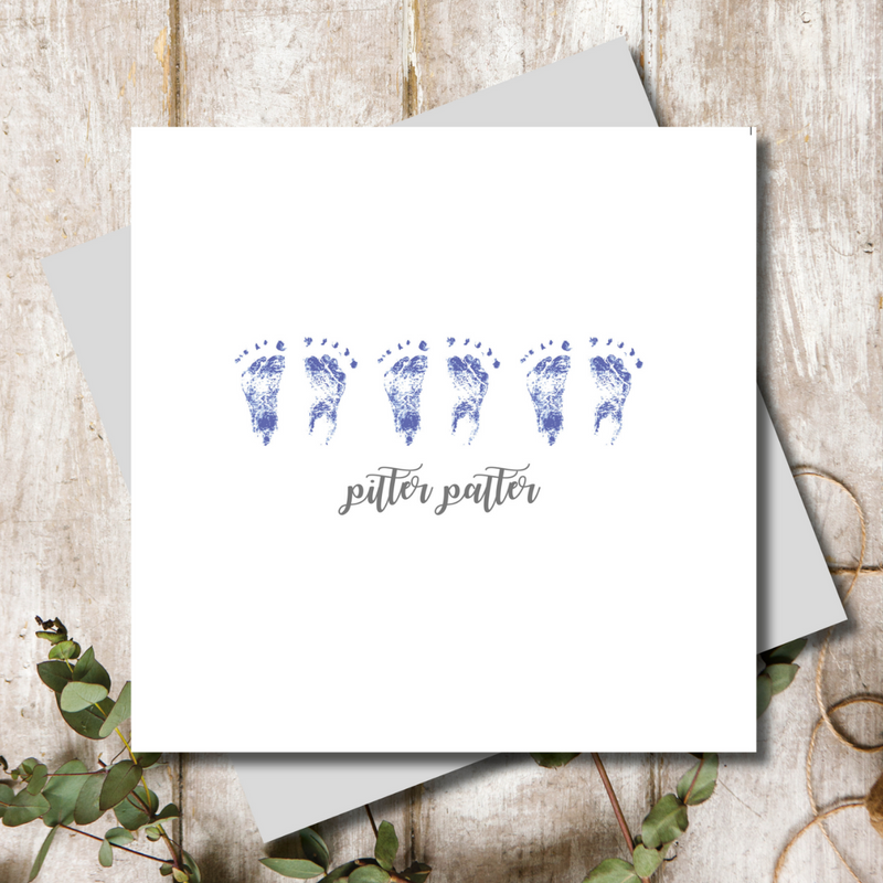 Pitter Patter Baby Boy Blue Greeting Card