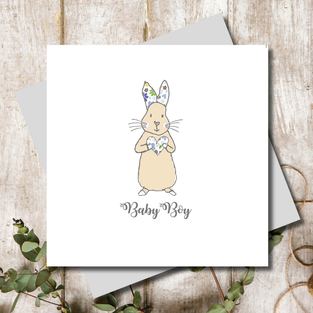 New Baby Flopsy Blue Greeting Card