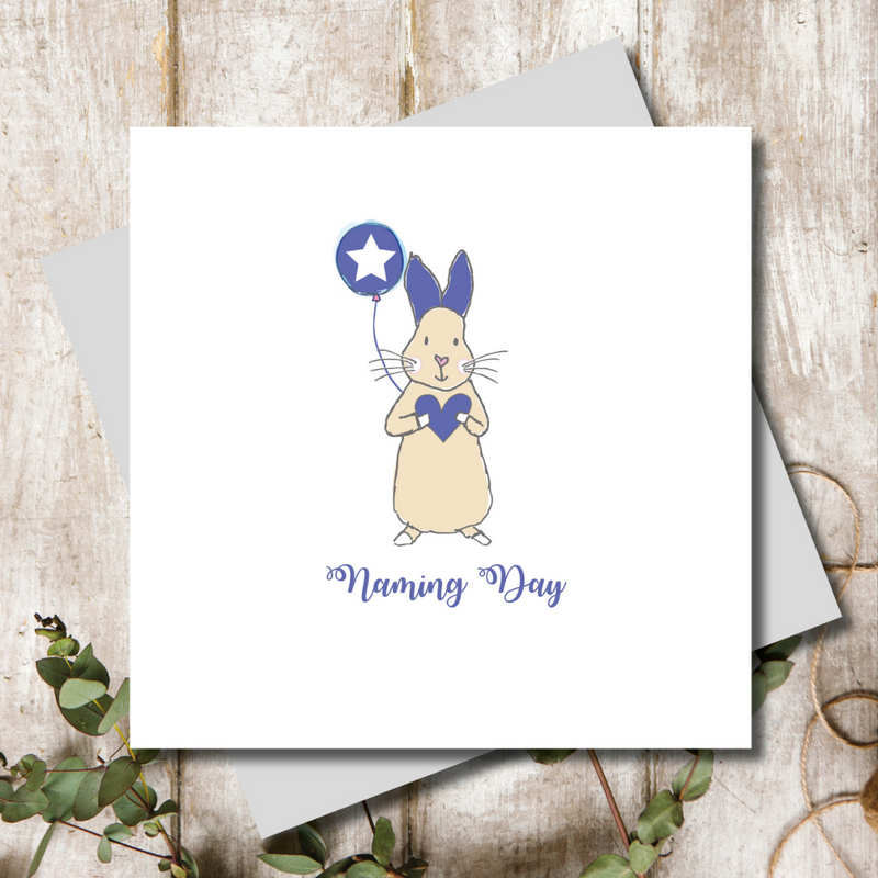 Naming Day Blue Bunny Greeting Card