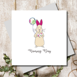 Naming Day Pink Bunny Greeting Card