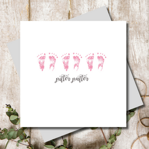 Pitter Patter Baby Girl Pink Greeting Card