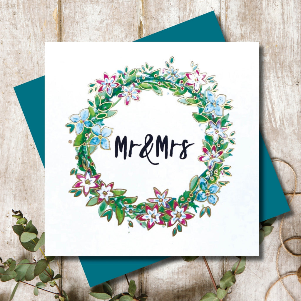 Wedding Floral Wreath - Mr and Mrs Greeting Card