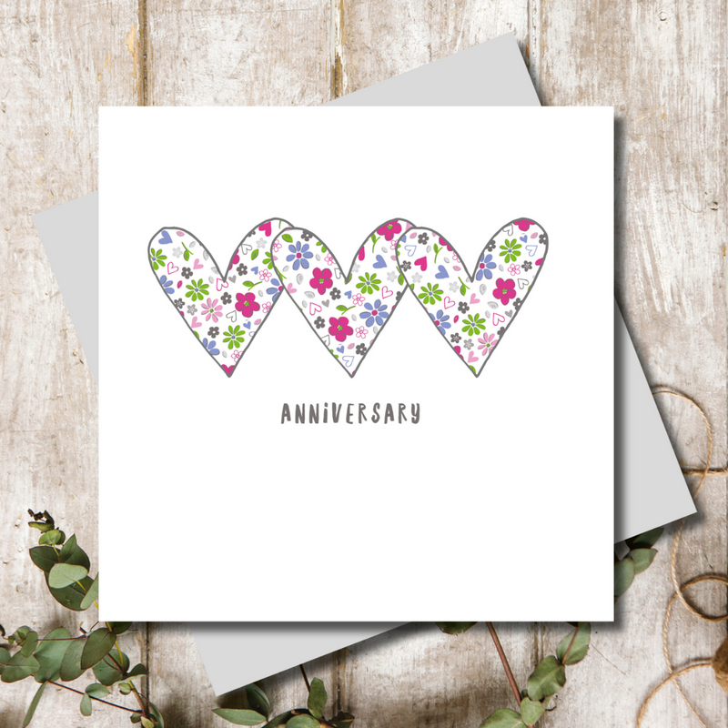 Anniversary Hearts Greeting Card