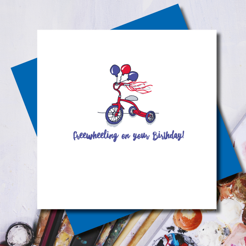 Freewheeling Scooter Birthday Greeting Card