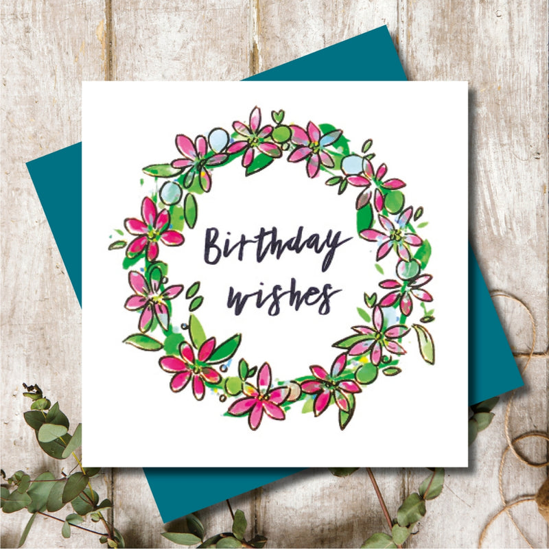 Flower Wreath Birthday Wishes Greeting Card