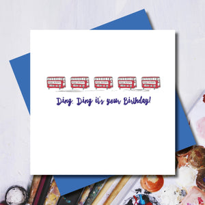 London Red Bus Birthday Greeting Card