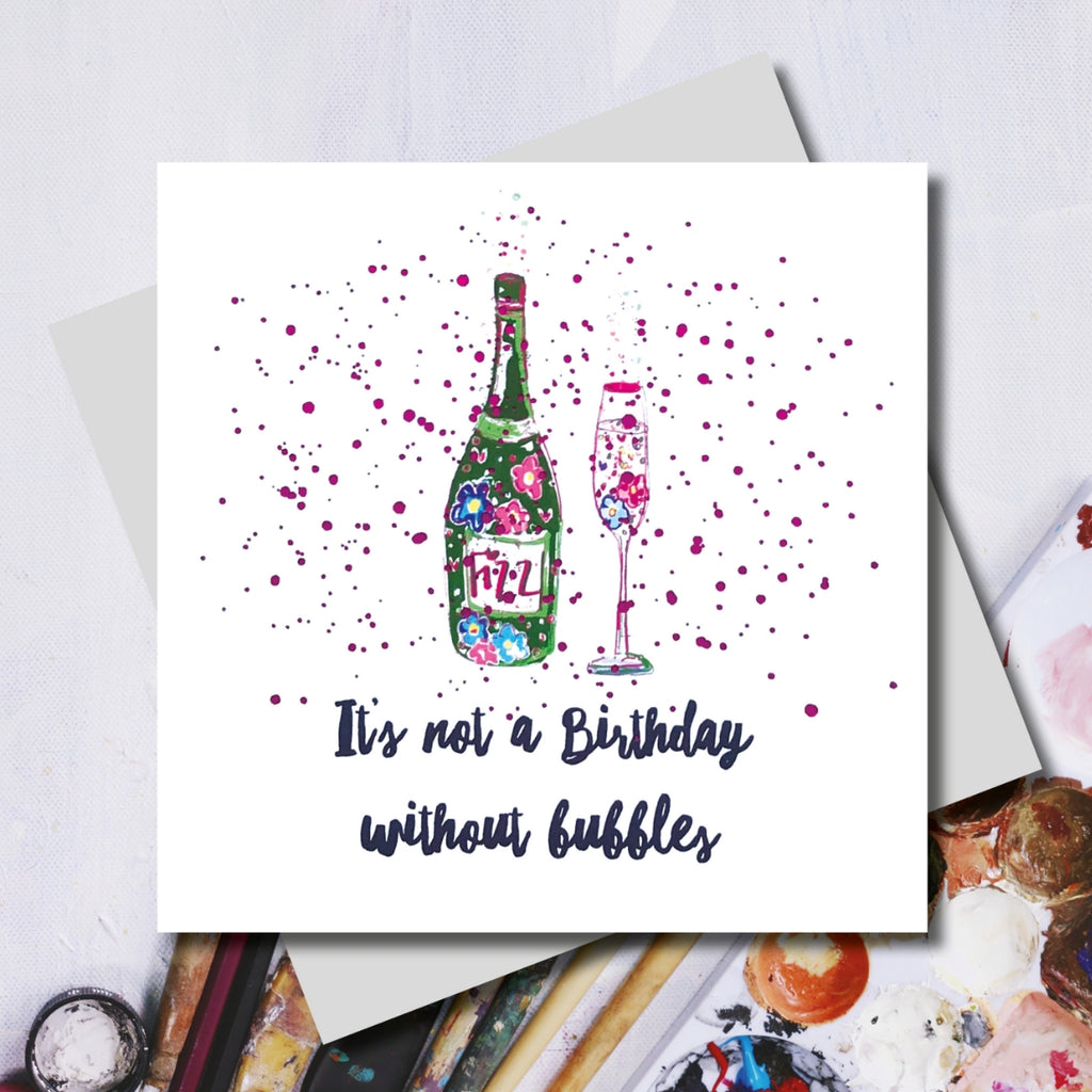 Champagne Birthday Bubbles Greeting Card