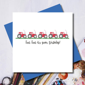 Toot Toot Red Tractor Greeting Card