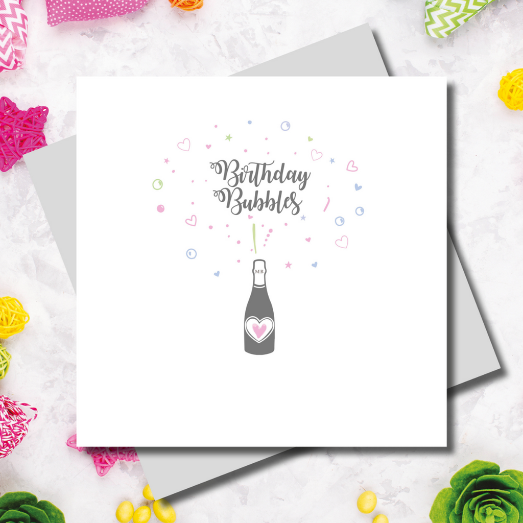 Gracie Birthday Bubbles Champagne Greeting Card