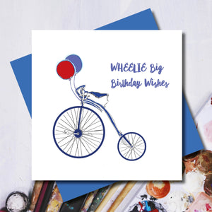Wheelie Big Bike Birthday Greeting Card