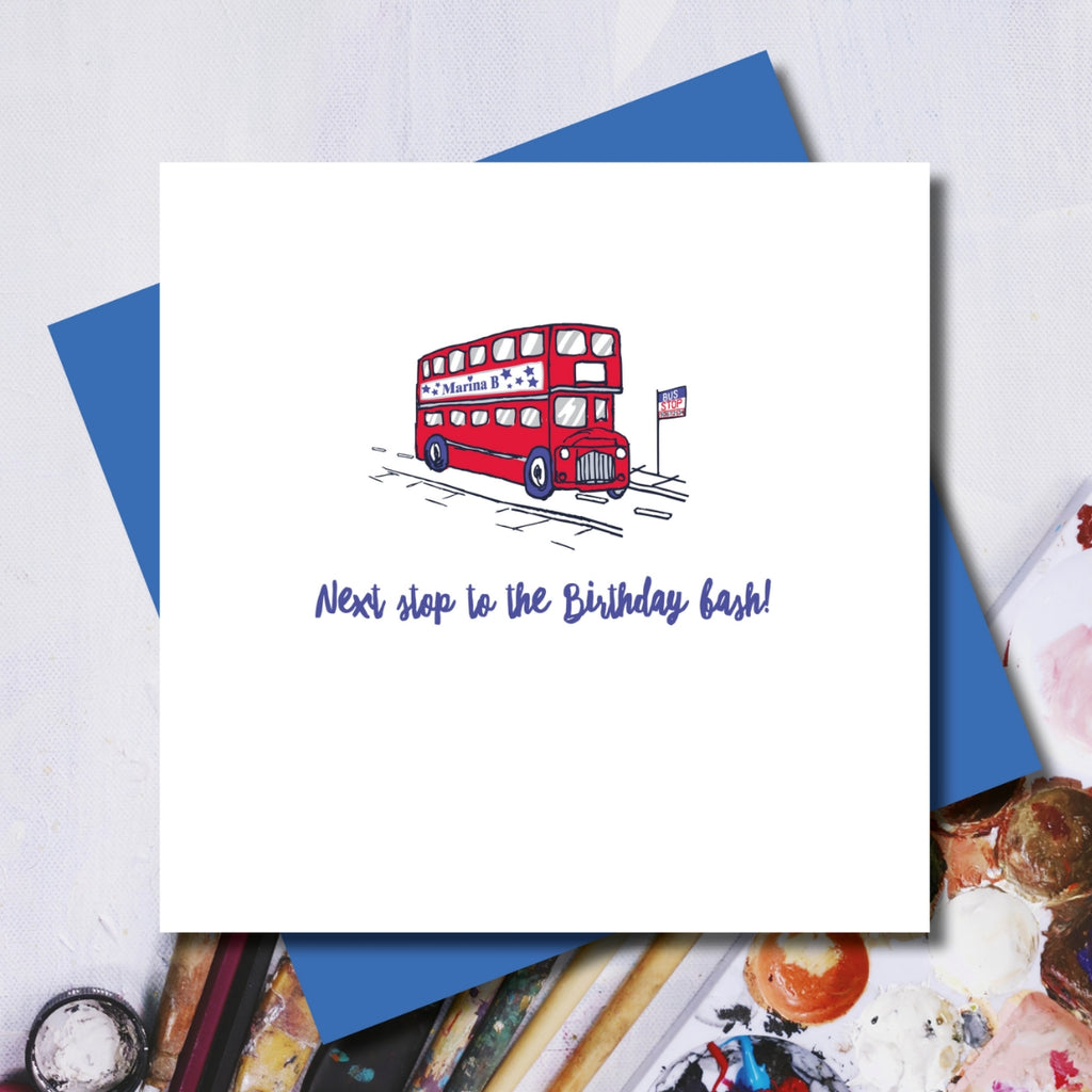 London Bus Birthday Bash Greeting Card