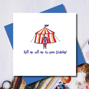 Roll Up Circus Happy Birthday Greeting Card