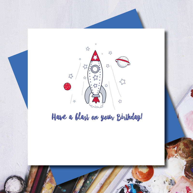 Space Rocket Blast Off Birthday Greeting Card