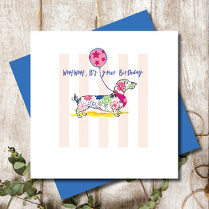 Dachshund Dog Happy Birthday Greeting Card